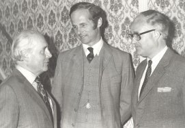 Michael Wynne-Parker with Hammond Innes, author and Count Nicholai Tolstoy, author - Bury St.Edmunds, UK 1984
